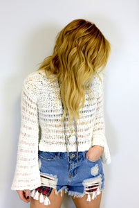 White Knit Bell Sleeve