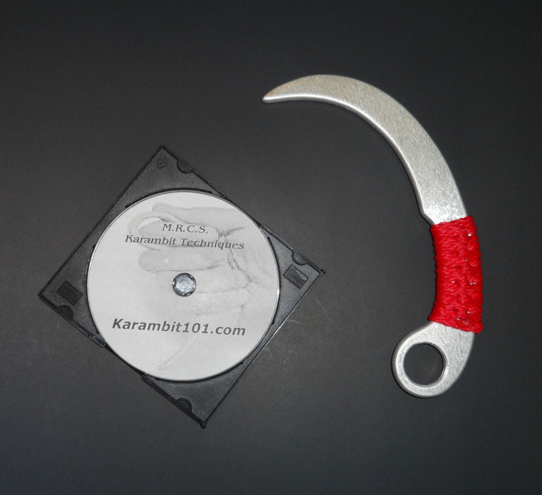 Aluminum Training Knife Karambit RED Martial Arts Instruction DVD