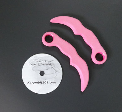2 Pink Tactical Karambit Training Knives Knife Fighting DVD Martial Art