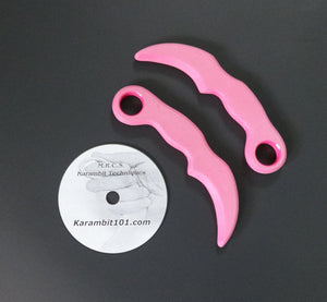 2 Pink Tactical Karambit Training Knives & Knife Fighting DVD Martial Art