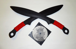 CUSTOM KALAJ KUTTER KUKRI PRACTICE KNIFE PAIR RED SWORDS DVD