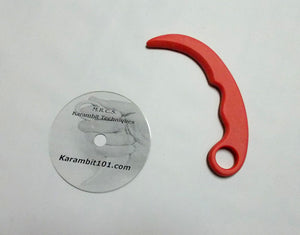 Red Karambit Pencak Silat Polypropylene Trainer Knife Fighting DVD Training Techniques