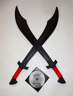 2 Black Scimitar Swords Martial Arts Practice Pair Training Dual Trainer w/ DVD