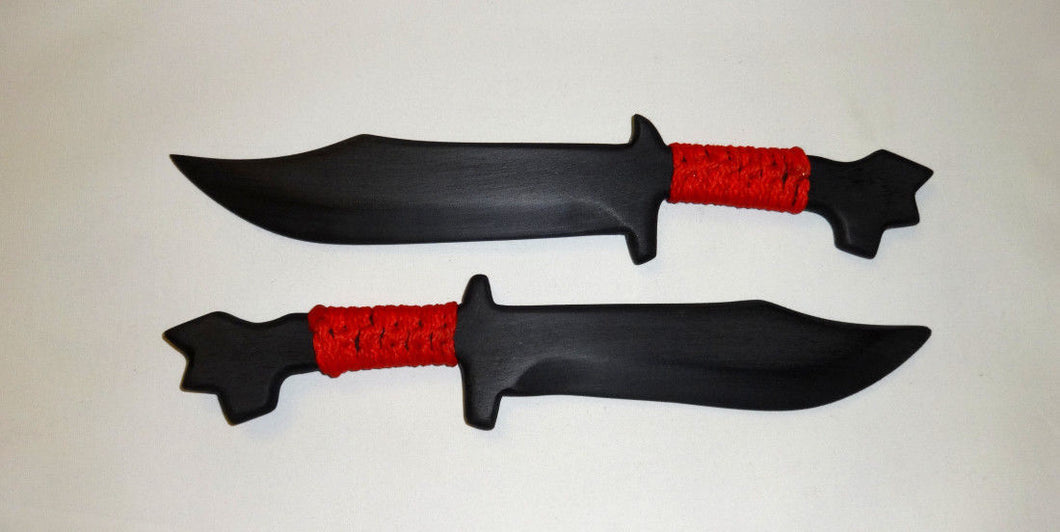 Training Fighter Pair Double Polypropylene Daggers Knives Knife SF Tactical Red Wrapped