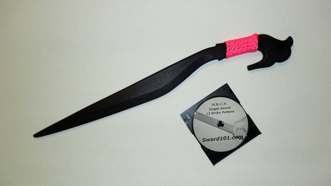 Black Martial Arts Practice Sword Lahot Philippines Knife Pink w Training DVD
