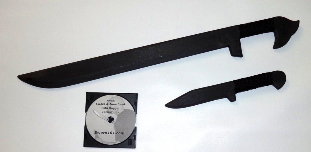 Black Training Sword Tactical Polypropylene Dagger Instruction Knife Fighting Techniques DVD