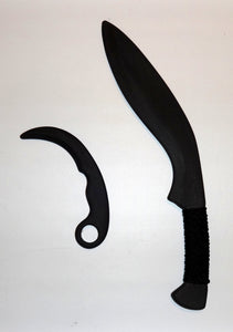 Traditional Kukri Training Sword w Karambit Tactical Practice Fixed Blade Knife