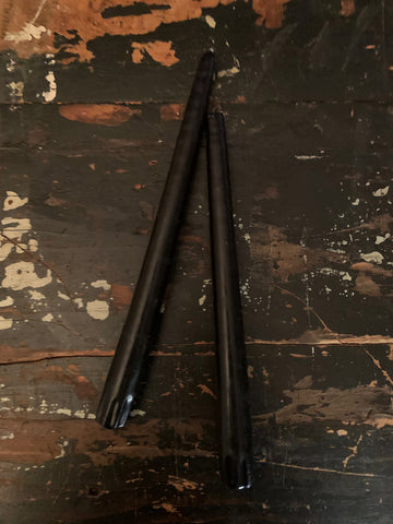 NIGHT BLACK CANDLE TAPERS (PAIR OF 2)