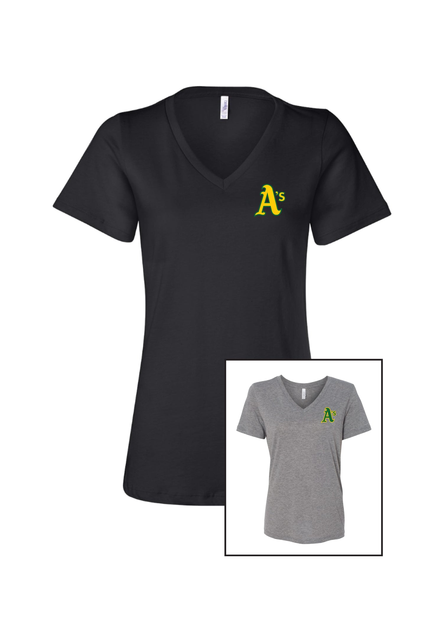 A's Women's V Neck Cotton T-Shirt
