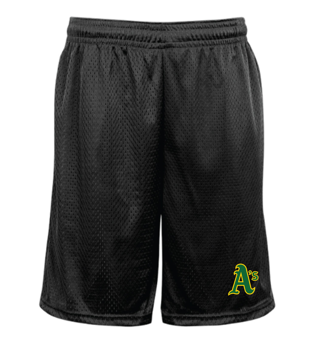 "A's Men's Pro Mesh 9"" Inseam  Pocketed Shorts"
