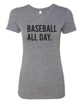 Baseball All Day - Women's Triblend Crew Tee