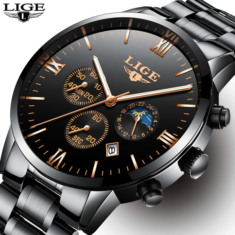 LIGE Chronograph Men Sports