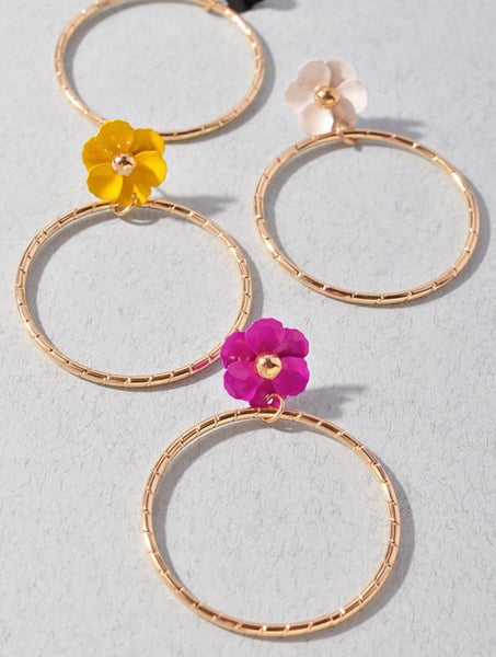Flower Hoop Earrings
