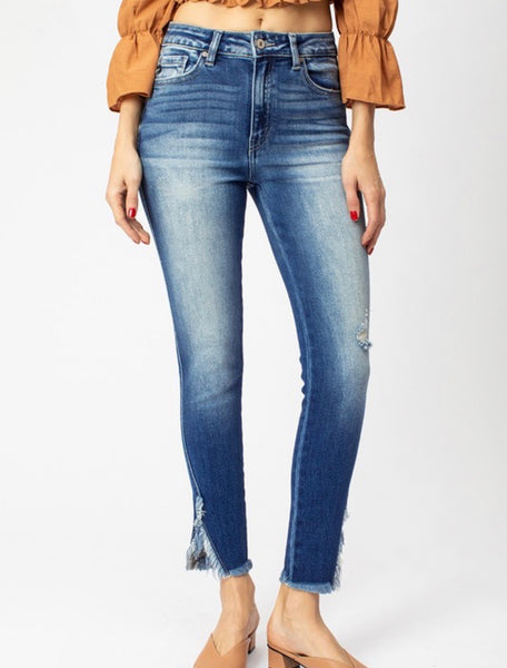 High Rise Skinny Jean with Hem Detail