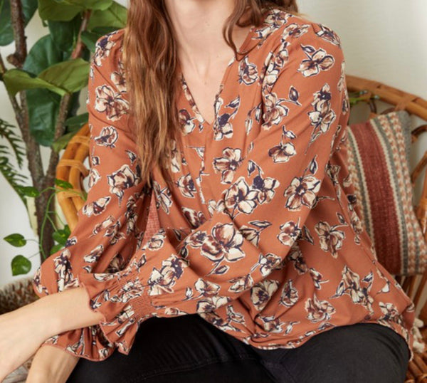 Floral Twist Front Top