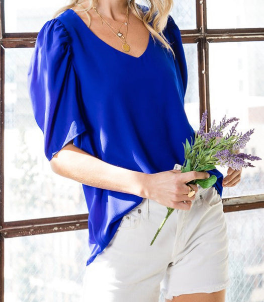 Puff Sleeve V Neck (More Colors)