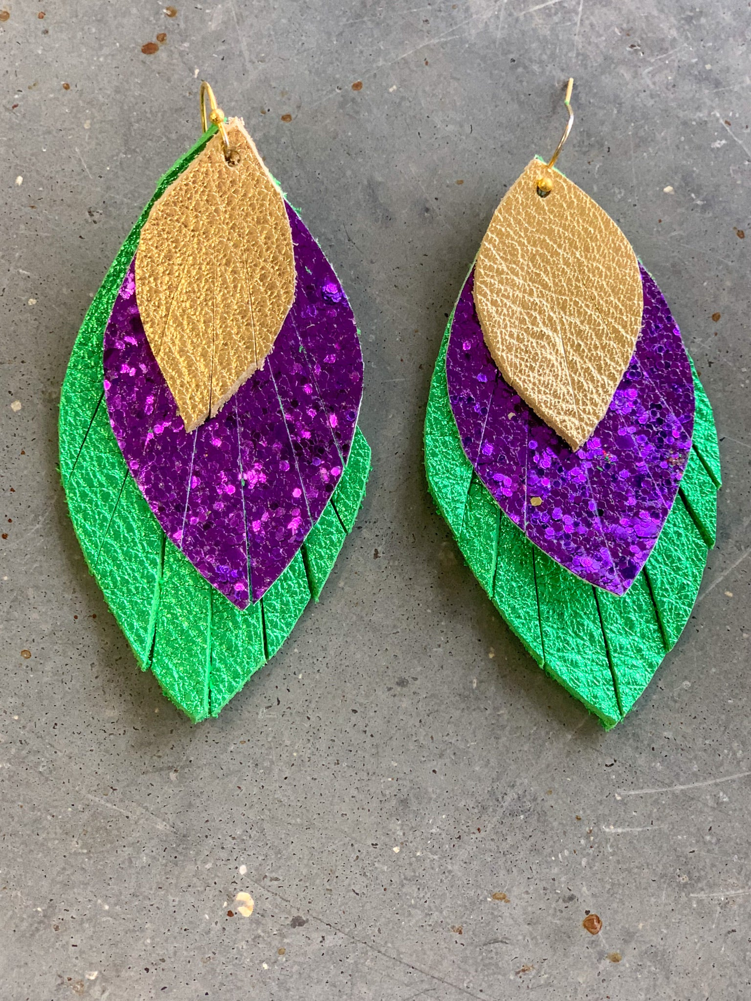 Layered Mardi Gras Earrings