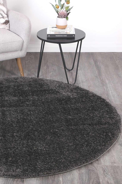 Fluffy  Shaggy Round - Anthracite