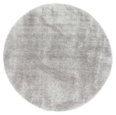 Fluffy  Shaggy Round Rug Grey
