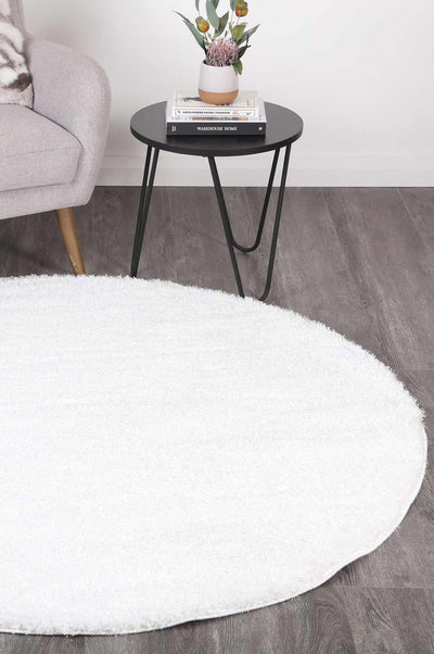 Fluffy Shaggy Round Rug White