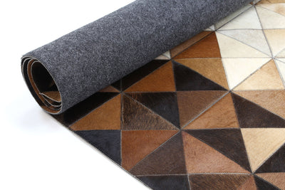 Sky Leather Cowhide Diamond Rug