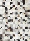 Sky Leather Cowhide Jersey Squares Rug