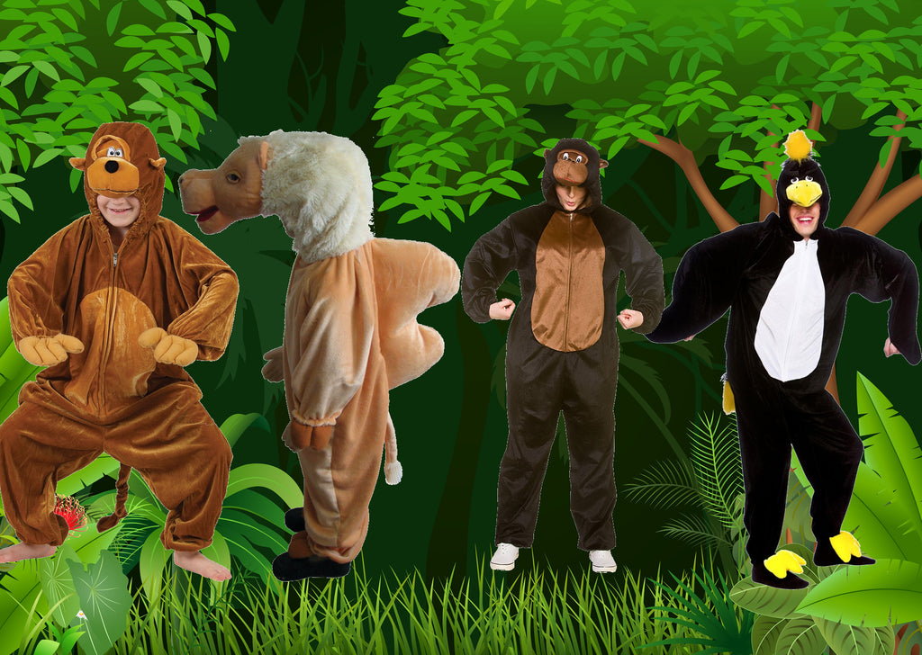 Adult and childrens animal costumes.