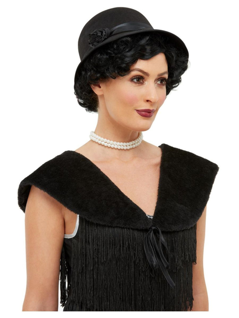 1920's Cloche Hat and Stole Black