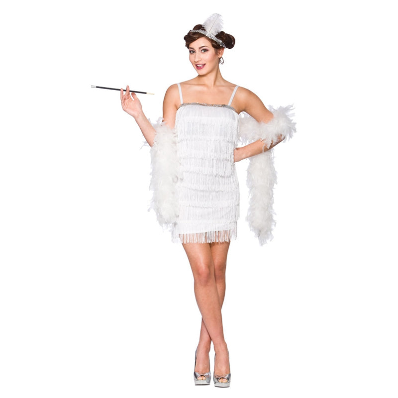 Ladies White Showtime Flapper fancy dress costume for women.