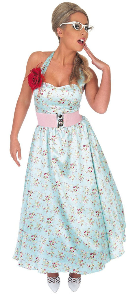 Transport yourself back in time with this halter neck floral pattern 1950's Day Dress Blue Costume.