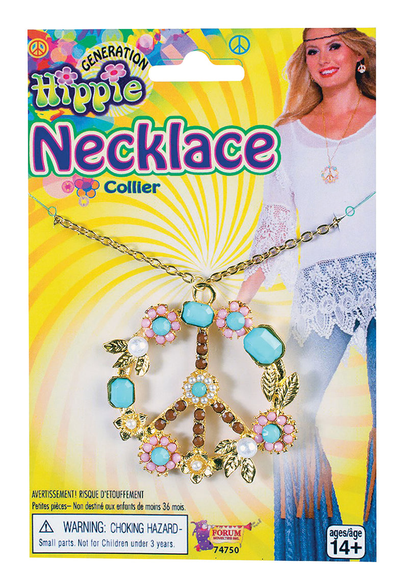 Hippie Peace Sign Necklace for 60's fancy dress costume.
