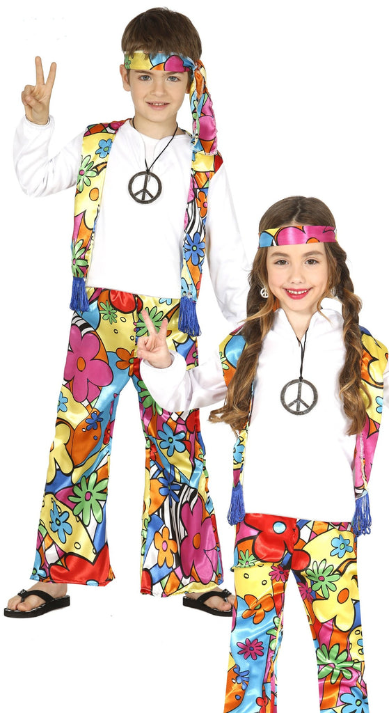 The 60's Hippie children's outfit for boys and girls contains a headband, shirt with vest and pants.