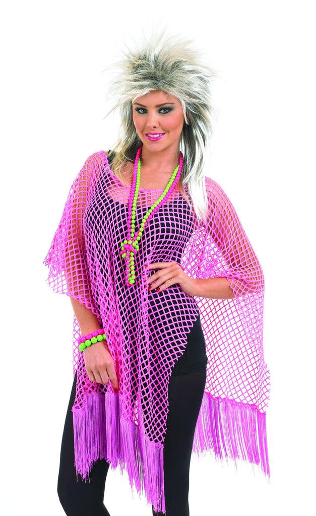 1980s Neon Pink Long Net Top Costume
