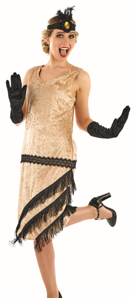 20's Charleston Girl Gold Flapper Dress Costume
