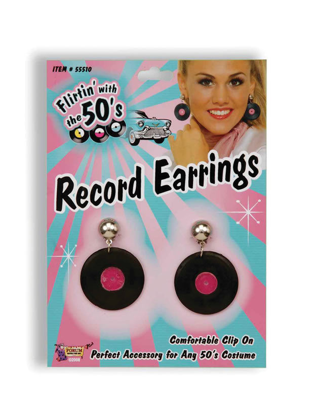 1950's Record fancy dress earrings