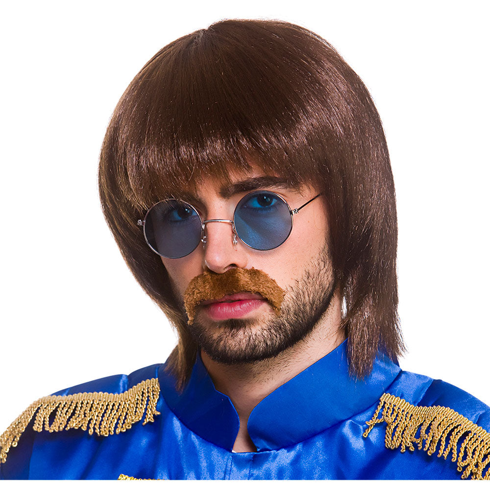 Adult men's 1960's Beatles Pop Wig, moustache and glasses set.