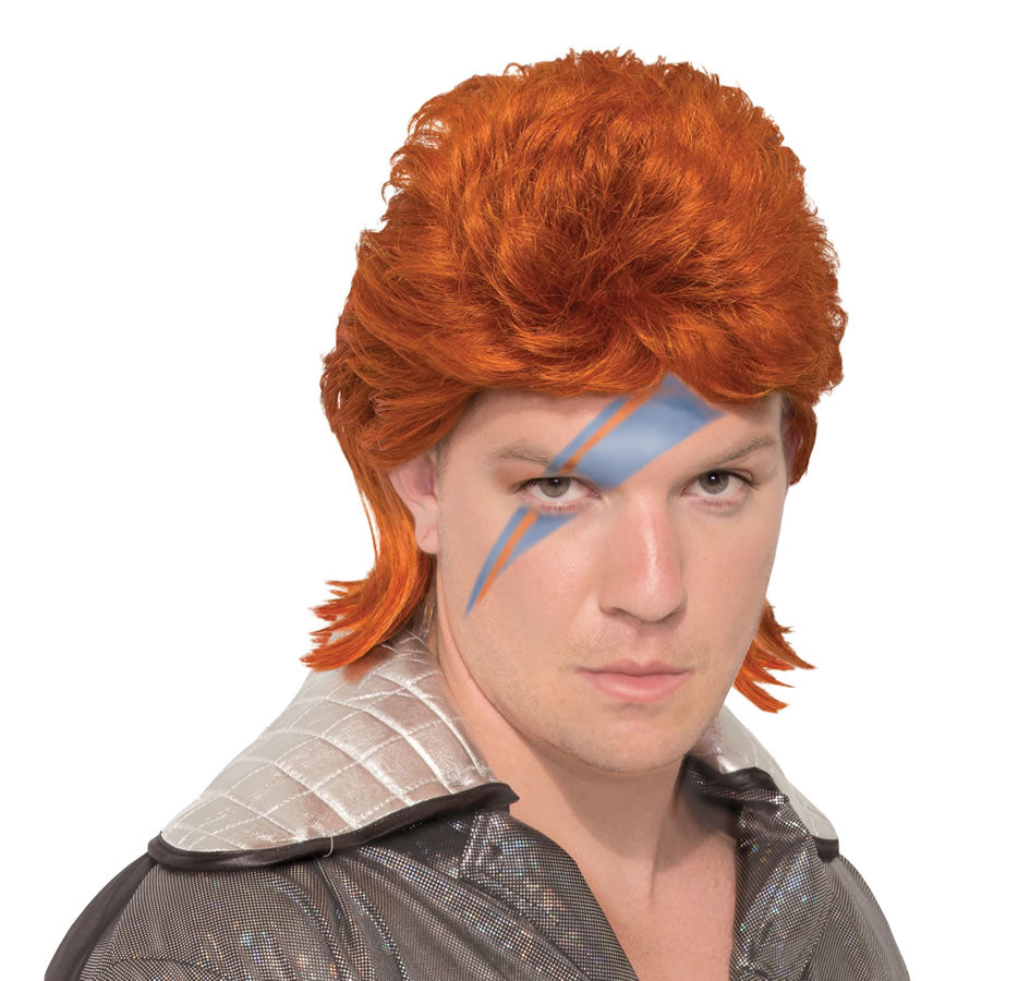 Our 70's Rock Legend is a long, red, mullet is in the style of David Bowie's Ziggy Stardust. Recreate your favourite rocker for any 70s or 80s party and you'll be sure to stand out.