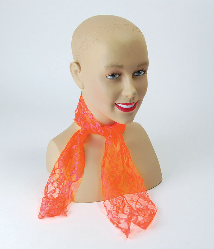 80's Neon Lace Scarf in Orange costume Accessory