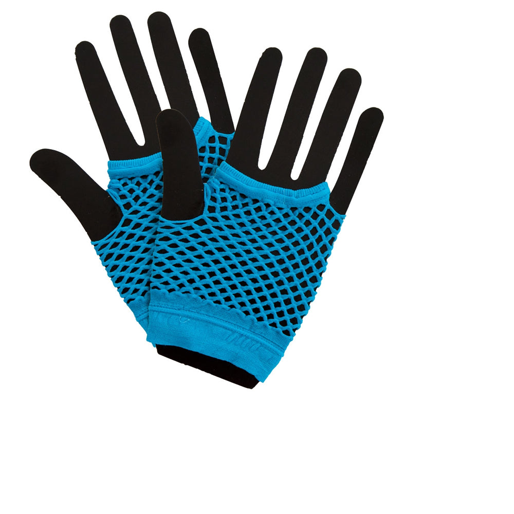 1980's Neon Blue Fishnet Gloves.