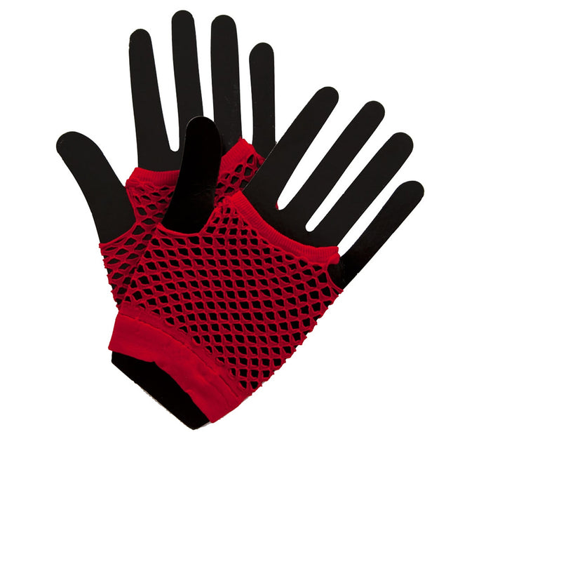 Stay funky fresh with our 1980's Short Red Fishnet Glove
