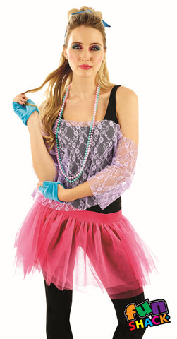 Our 80's Lace TuTu Kit includes this off the shoulder purple Lace Top and  Multi layered pink TuTu with pink.