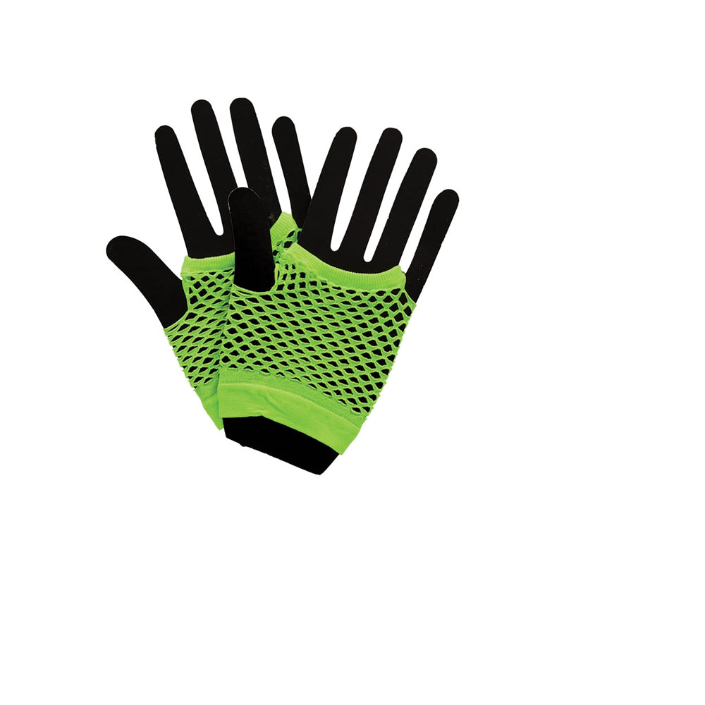 Stay funky fresh with our 1980's short Neon Green Fishnet Glove.