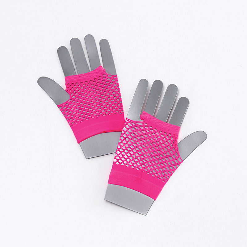 Stay funky fresh with our 1980's short Neon Pink Fishnet Glove