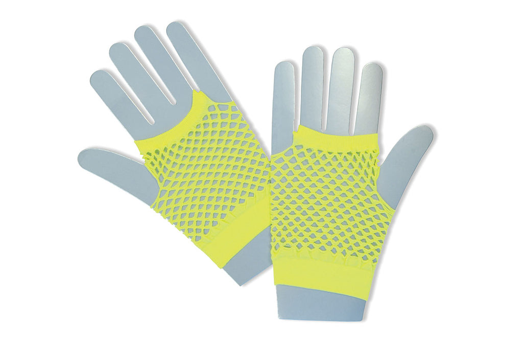 1980's Fishnet Gloves Yellow