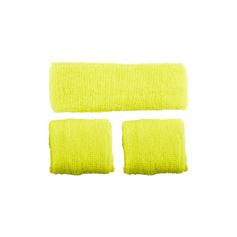 Neon yellow 1980's Sweatband & Wristbands.