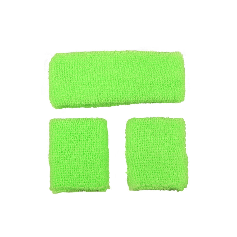 80's Sweatband and Wristbands - Neon Green