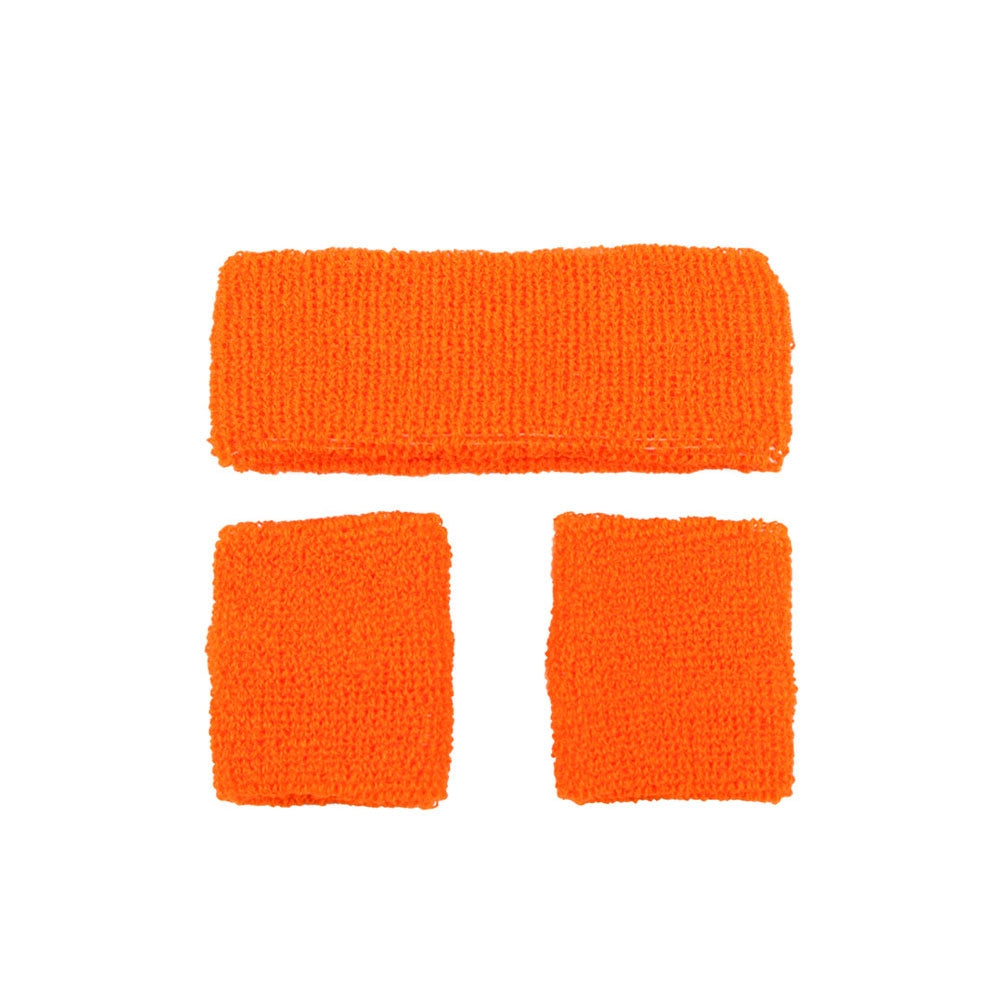 80's Sweatband and Wristbands - Neon Orange