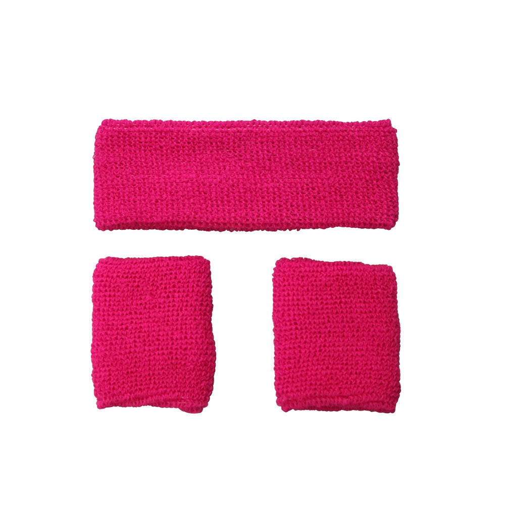 1980's Sweatband and Wristbands - Neon Pink