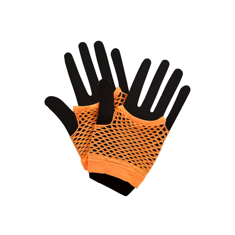 80s Neon Short Fishnet Gloves Orange