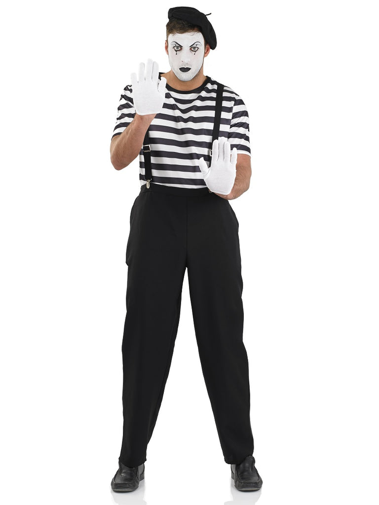 Men's Mime Artist Fancy Dress Costume